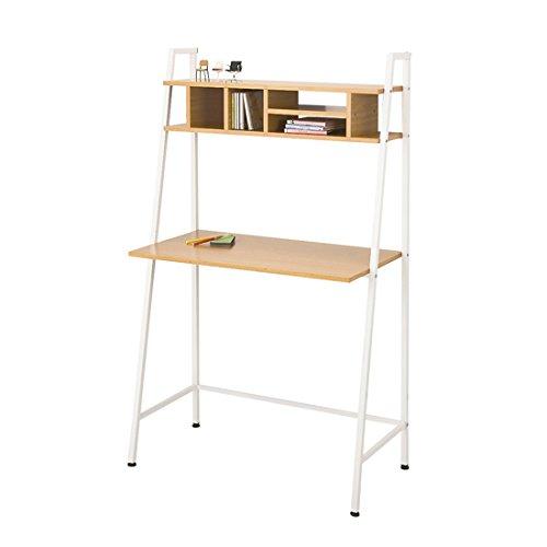 ナチュラル/デスク パソコンデスク 85cm 天板木製 机 テーブル 収納 ラック付き PCデスク 学習机 勉強机 パソコンラック 収納 棚付き 収納付き モダン シンプル