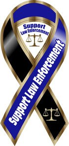 Support Law Enforcement Blue/Black Ribbon Magnet