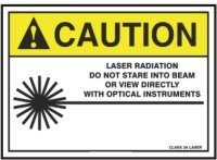 CAUTION LASER RADIATION DO NOT STARE INTO BEAM OR DIRECTLY WITH OPTICAL INSTRUMENTS CLASS 3A LASER (W/GRAPHIC) Sign - 10