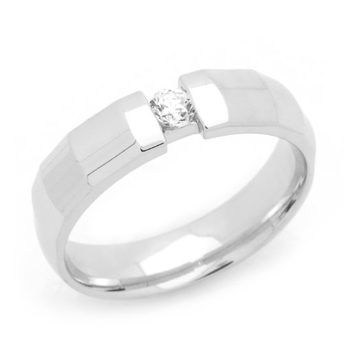 Sterling Silver Wedding Band 4MM High Polish Channel Set Single Stone Comfort Fit Ring - Size 6