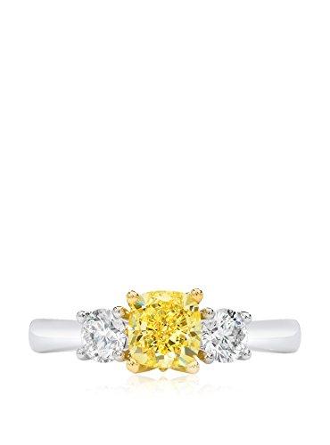 Bouquet 1-1/2 Carat Fancy Yellow Cushion Diamond/18K White Gold Ring