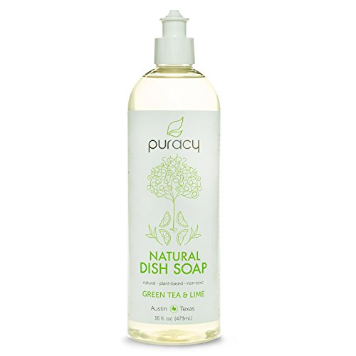 Puracy Natural Liquid Dish Soap - Sulfate-Free - THE BEST Dishwashing Detergent - Green Tea & Lime (Hypoallergenic Dishwashing Liquid compare prices)