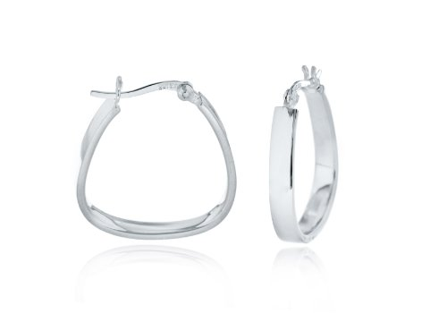 Silver Square Handbag Shape Hoop Earrings