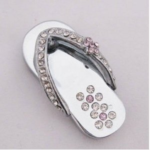 High Quality 16 GB Slipper Shape Crystal Jewelry USB Flash Memory Drive Necklace(Silver) by T &  J