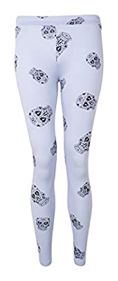 Womens Skull Printed Full Length Legging One Size