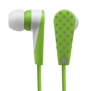 Polka Dot Design Earphone Earbud In-Ear Phone for all Audio Devices Fits iPhone iPod S3 S4 - Green