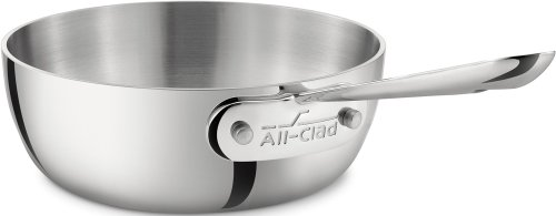 All-Clad 4211 Stainless Steel Tri-Ply Bonded Dishwasher Safe Saucier Pan/Cookware, 1-Quart, Silver