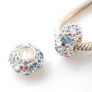 Opal charm bead with blue and pink crystals - 4.5 mm core