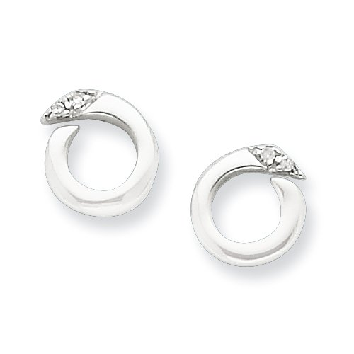 Sterling Silver White Ice .02ct. Diamond Earrings