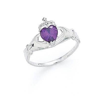 Jewelry 14k white heart amethyst purple birthstone for Reed barton athena jewelry box