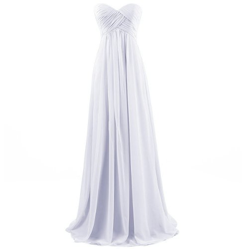 Ouman Sweetheart Bridesmaid Chiffon Prom Dress Long Evening Gown White M