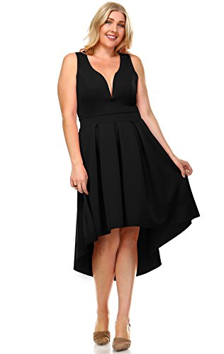 Zoozie LA Women's Plus Size Pleated Midi Cocktail Dress with Empire Waist Black 2X