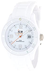 Ice Watch - SI.WE.U.S.09 - Ice Blanc - Montre Mixte - Quartz Analogique - Cadran Blanc - Bracelet Silicone Blanc - Moyen Modèle
