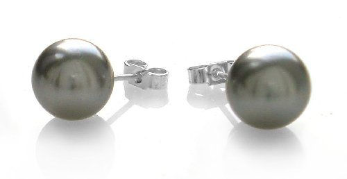 Grey Tahitian Shell Pearl 10mm Sterling Silver Stud Earrings