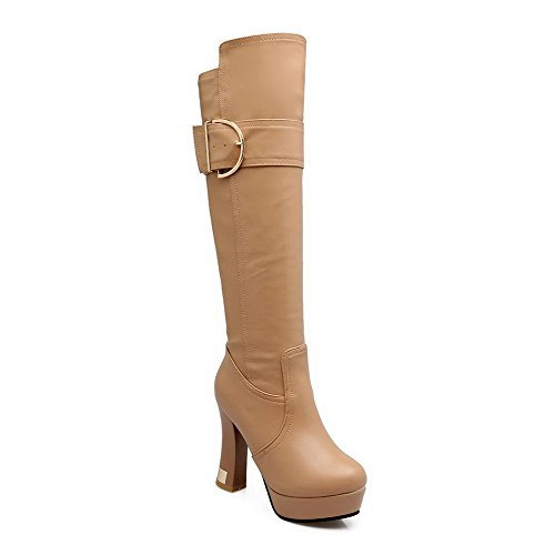 voguezone009-womens-pull-on-high-heels-round-closed-toe-pu-solid-boots-apricot-buckle-37