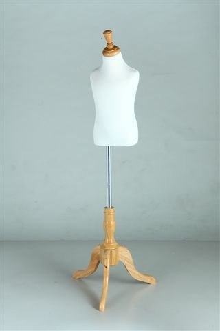 New White Child 3-4 Years Old Fully Pinnable Mannequin Dress Form On Natural Tripod Stand (JF34)
