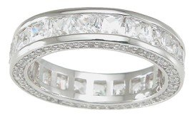 New 925 Sterling Silver CZ Eternity Princess Ring