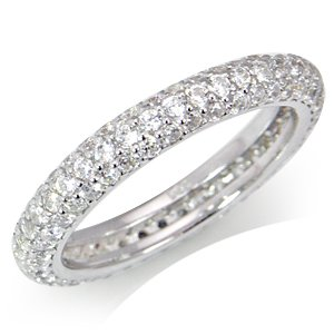 White CZ Gold Plated Sterling Silver Eternity Band Stack/Stackable Ring Size 7