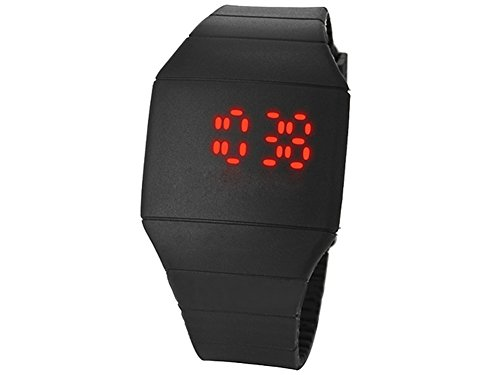 Moonar®Unisex Ultra Thin Cool Red Led Touch Screen Digital Display Rubber Wrist Watch(Black)