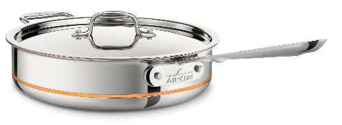 All-Clad 6404 SS Copper Core 5-Ply Bonded Dishwasher Safe Saute Pan Cookware,  4-Quart, Silver
