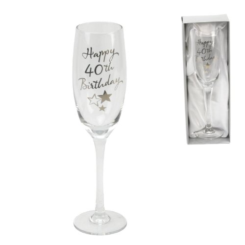 Personalised Juliana Happy 40th Birthday Champagne Glass Flute in Gift Box G31940 - Add Your Own Message