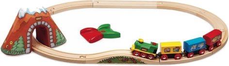 Brio wooden train set showing train going round track