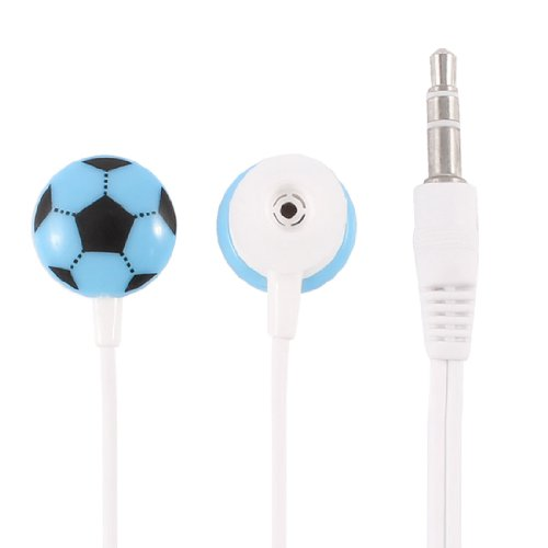 Mobile Phone Mp4 Blue Football Pattern Head 3.5Mm Plug In-Ear Headphone Earphone 4Ft Cable