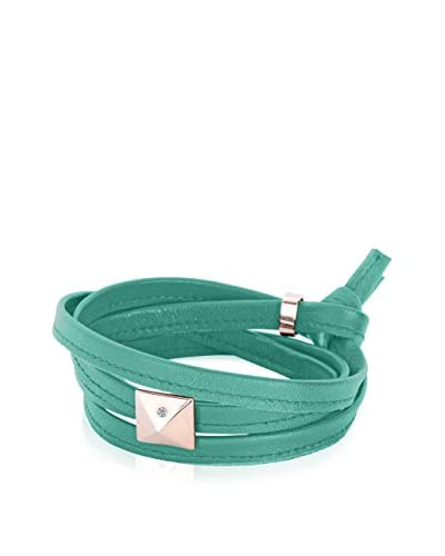 Alberto Moore Mint Green Leather Multi-Wrap Bracelet with a Pyramid Stud