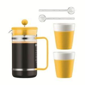Bodum BISTRO SET GELB Cafetière mit Kolben A 1l + 2Tassen aus Porzellan Streifen Silikon 30cl + 2Tassenlöffel Rührwerk