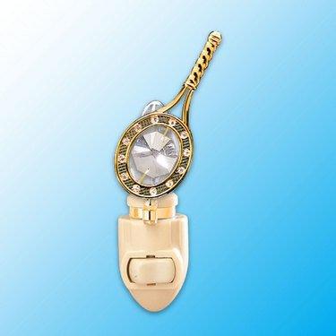 24k Gold Tennis Racket Night Light - Clear Swarovski Crystal