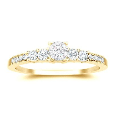 0.60 Carat Diamond Wedding Ring with Round cut Diamond on 14K Yellow gold