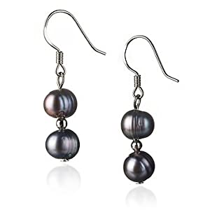 PearlsOnly Cerella Black 6-7mm A Freshwater Sterling Silver Pearl Earring Set