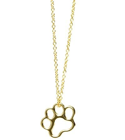 Paw Print Necklace Small Paw Pendant 18k Gold for Dog Lovers and Cat Lovers By Ashley and Co., 16