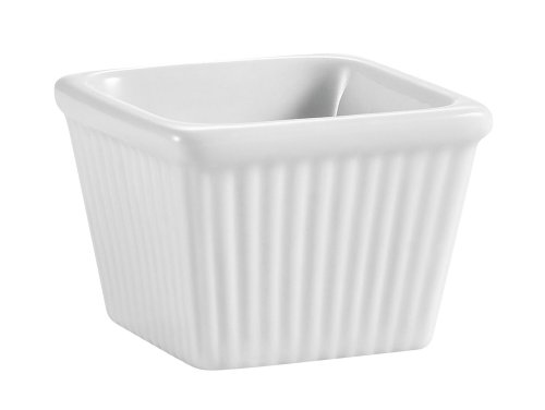 CAC China Accessories 2-1/8-Inch by 1-7/8-Inch 2-Ounce Super White Porcelain Square Fluted Ramekin, Box of 48