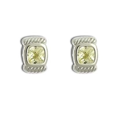 Fashionable Button Earrings 925 Sterling Silver with Small Square Citrine CZ Design(WoW !With Purchase Over $50 Receive A Marcrame Bracelet Free)