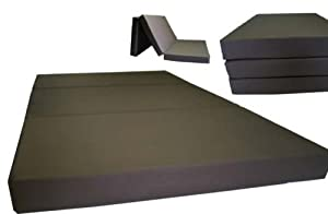 """Brand New Brown Twin Size Shikibuton Trifold Foam Beds 6"""" Thick x 39""""W x 75""""L Long, 1.8 lbs high density resilient white foam, Floor Foam Folding Mats."""