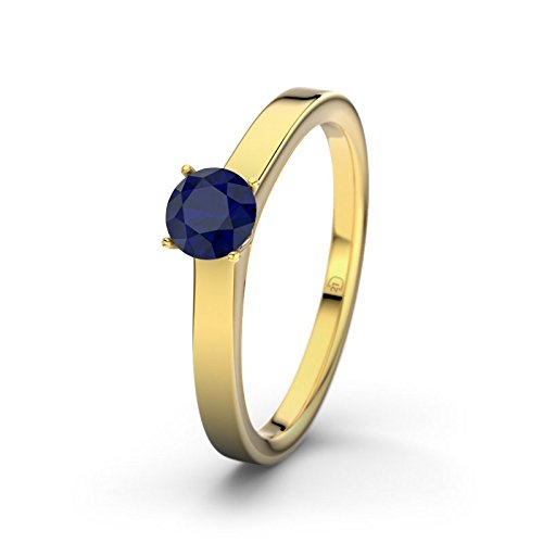 21DIAMONDS Kiev Engagement Women's Ring 14 Carat (585) Yellow Gold Stunning Round Brilliant Cut Blue Sapphire Color Engagement Ring