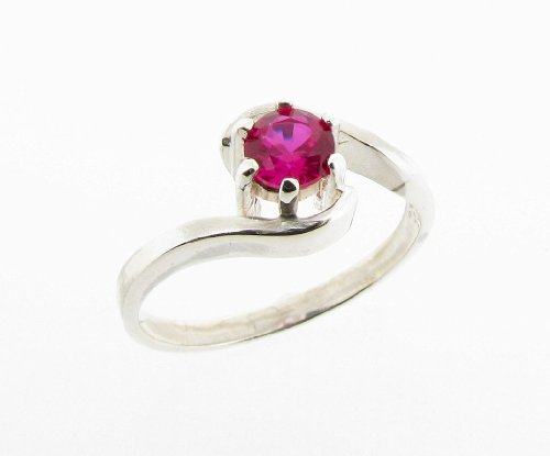 925 Sterling Silver Created Ruby Crossover Ring - Made in England