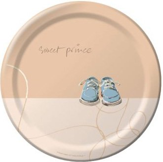 Sweet Prince Banquet Plates Baby Showers Rattle Parties Celebrations 8 Ct
