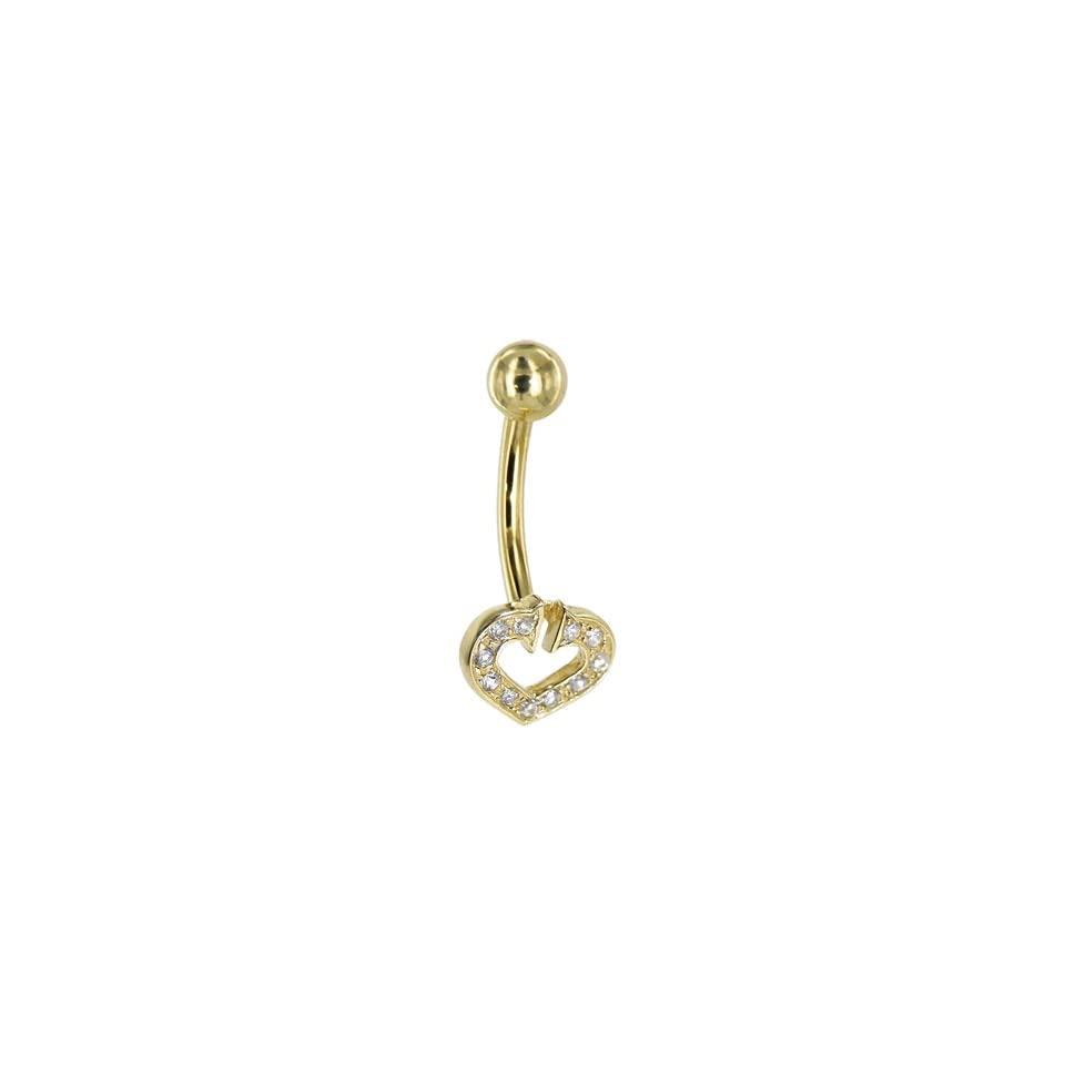Solid 14kt Yellow Gold Cubic Zirconia Paved Hollow Heart Belly Ring