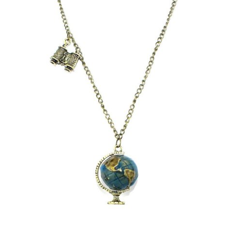 Jade Onlines Retro Pendant Globe Telescope Style Chain Charm Ornate Coat Sweater Vintage Necklace