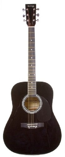 41″ Inch Full Size Black Ebony Handcrafted Steel String Dreadnought Guitar & DirectlyCheap(TM) Translucent Blue Medium Guitar Pick
