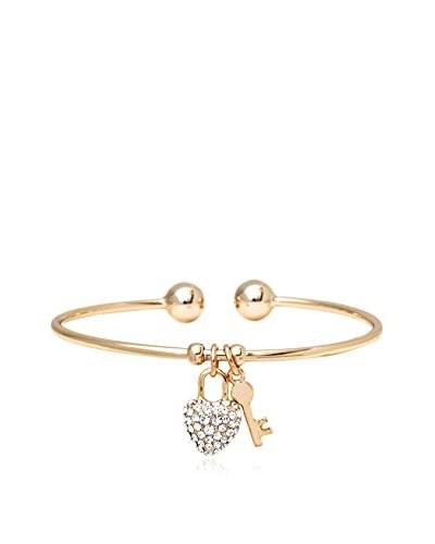 Sweet & Soft Swarovski Elements Heart and Key Charm Bangle Bracelet