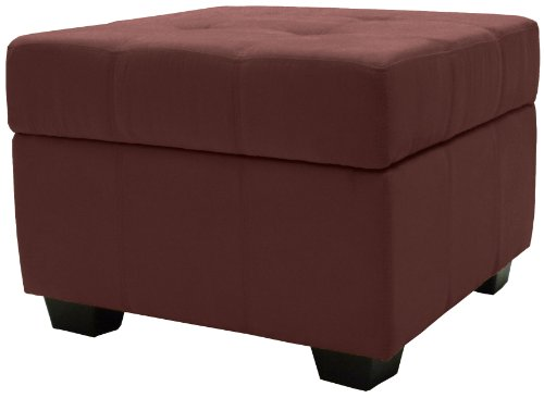 Epic Furnishings Microfiber Upholstered Tufted Padded Hinged Square Storage Ottoman Bench, 24-Inch, Suede Wine Red front-461656