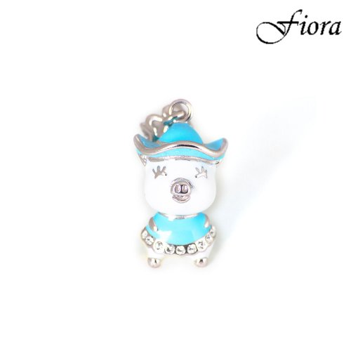 Happy Pig Dressed in Blue Dangle Charm- Fiora Italian Charms