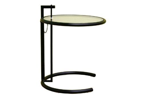 Eileen Gray Adjustable End Table in matt Black smoked glass shelf
