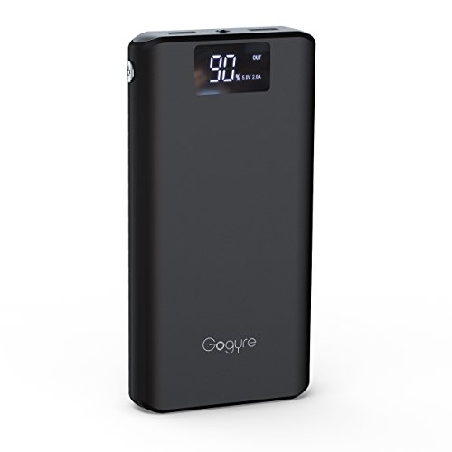 Gogyre Portable Charger 21200mAh Power Bank Digital Display High Capacity Powerbank 2-Port USB Output with Boston Cells External Battery Pack for iPhone iPad Samsung Galaxy Phone Tablet ( Black ) (Robot Usb Port compare prices)