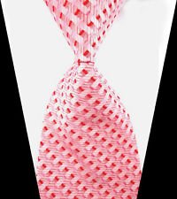 [jacob alex #38772 Classic Necktie Red&Pink&White Striped WOVEN JACQUARD Silk Men's Suits Tie] (Classic Playboy Bunny Costume Pink)
