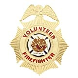 HWC VOLUNTEER FIREFIGTHER Gold Badge Shield with Full Color Seal