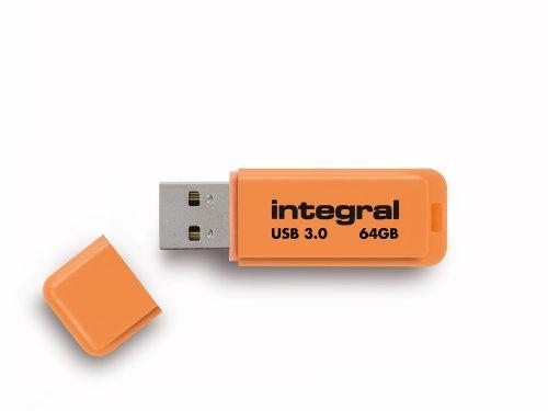 Integral Neon 64GB USB 3.0 Flash Drive - Orange
